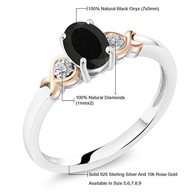 925 Sterling Silver and 10K Rose Gold Ring  for 10th Wedding Anniversary Black Onyx with Diamond Accent 0.80 cttw