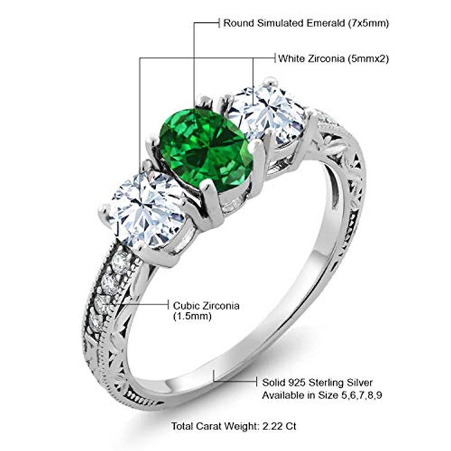 925 Sterling Silver Green Simulated Emerald Women's Ring for 20th Wedding Anniversary(2.22 Ct Oval Available 5,6,7,8,9)
