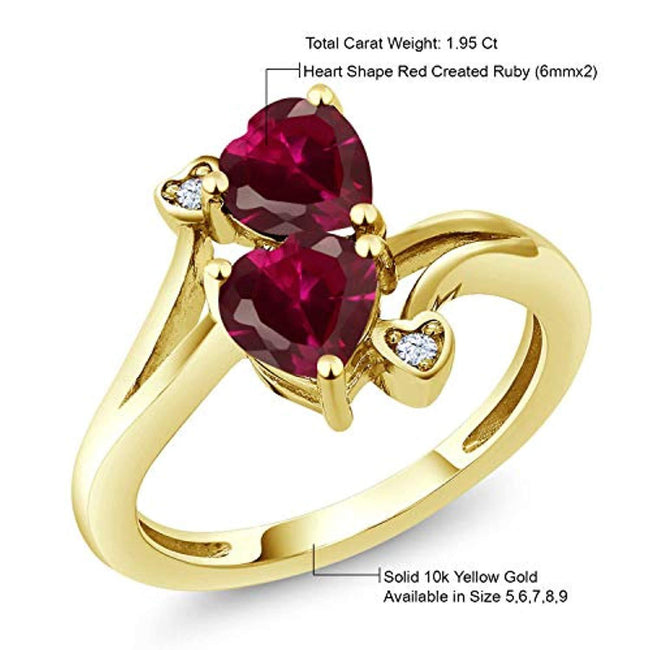 10K Yellow Gold Red Created Ruby Women's 2 Heart Ring for 40th wedding anniversary (1.95 Cttw, Available in size 5, 6, 7, 8, 9)