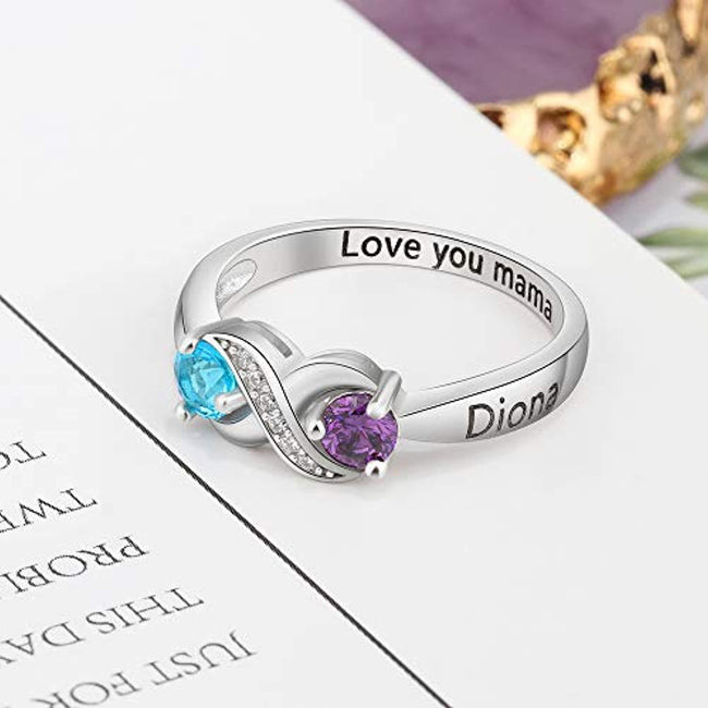 925 Sterling Silver Personalized Infinity Mothers Rings with 2 Round Simulated Birthstones Custom Engraved Engagement Promise Rings for Women