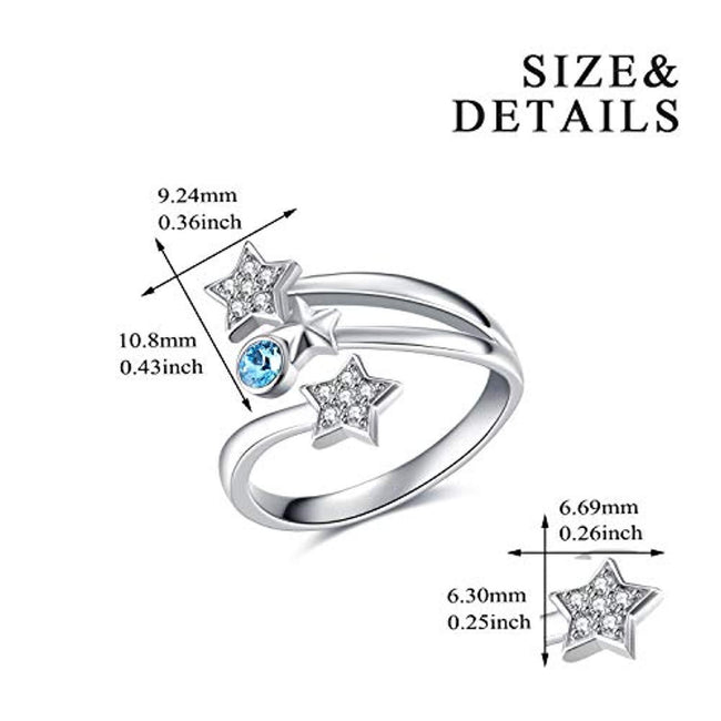 Sterling Silver Star Ring Adjustable Open Finger Ring with Crystal,Fine Jewelry Gift for Women