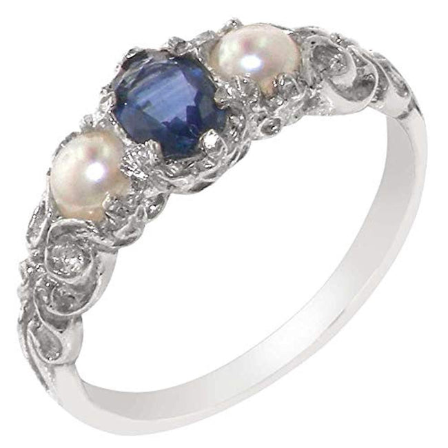 925 Sterling Silver Real Genuine Sapphire and Cultured Pearl Womens Band Ring for 30th Wedding Anniversary