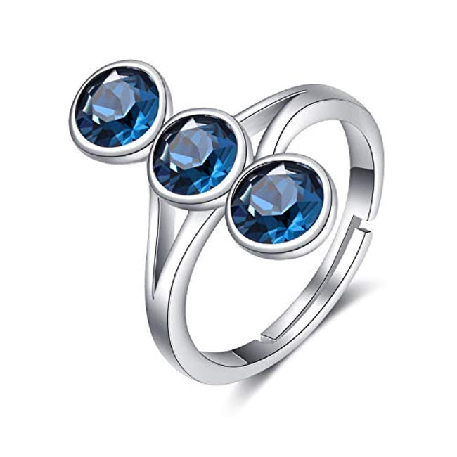 S925 Sterling Silver Adjustable White/Blue Crystal Rings for Women Girls