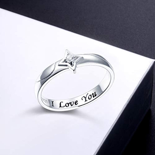 925 Sterling Silver Star Themed Jewelry I Love You Ring for Women Men Girls Boys Couple Rings Birthday