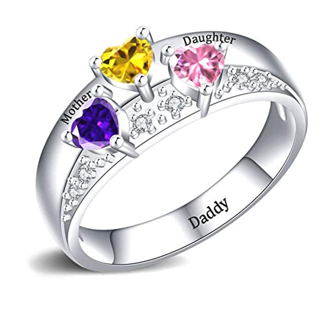 Mothers Ring with 3 Birthstones Personalized, 925 Sterling Silver Custom Engraved Name Anniversary Ring for Women