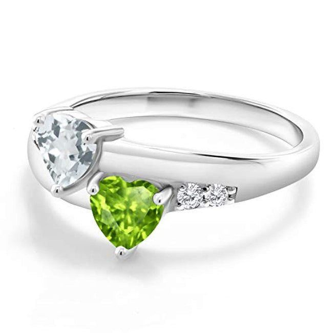 0.96 Ct Heart Shape Green Peridot Sky Blue Aquamarine 925 Sterling Silver Lab Grown Diamond Ring for Anniversary