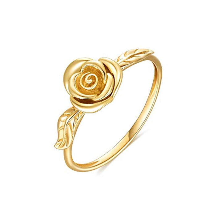 14K Gold Ring For Women, Yellow Gold Rose Flower Engagement Ring, Fine Jewelry Gifts for Girls on Christmas, Birthday, 50th Wedding Anniversary