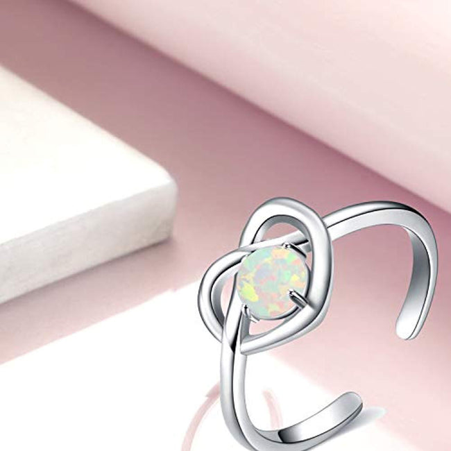 Women's Opal Heart Infinity Knot Sterling Silver Classic Engagement Promise Band Ring