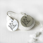 Flower Earrings 925 Sterling Silver Wildflowers Drop Earrings Gift For Nature Lovers