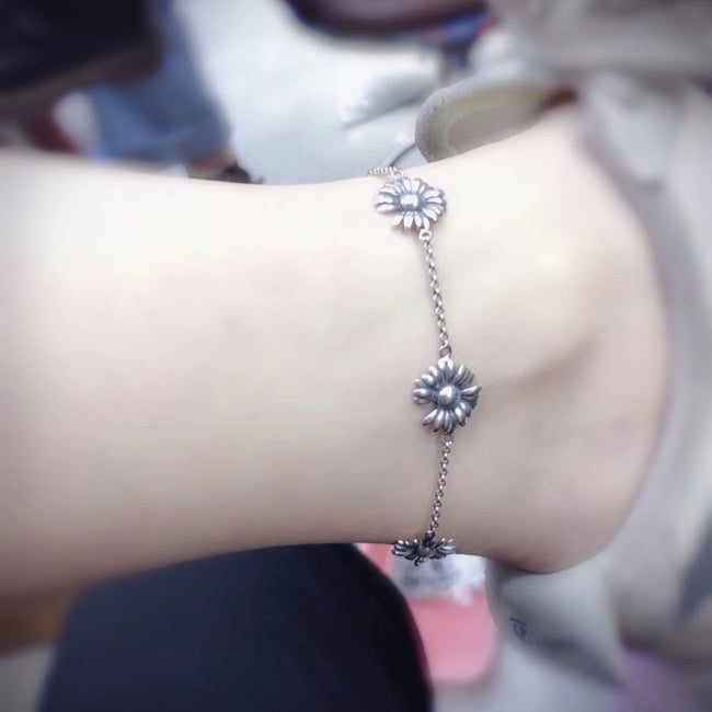 925 Sterling Silver Daisy Flower Anklet Gift For Her