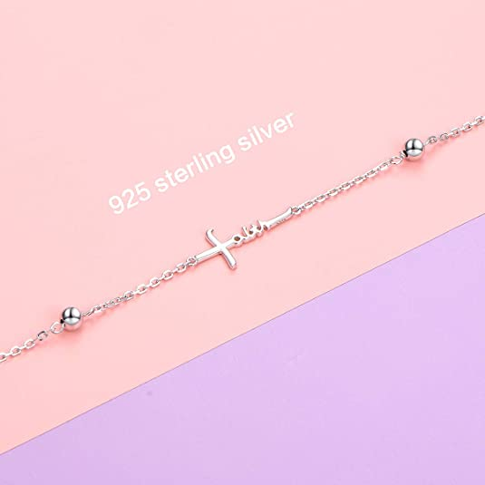 Faith Cross Beaded Anklet 925 Sterling Silver Sea Beach Foot Jewelry Anklet Bracelet Birthday Gift for Women Girls 9-10 inch