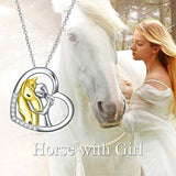 925 Sterling Silver Love Horse Girl Pendant Necklace for Kids, Girls, Daughter, Grandaughter