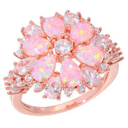 Great Sale Opal Ring-Pink Cubic Zirconia CZ Ring Sterling Silver Gemstone Ring for Women