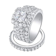 925 Sterling Silver Halo Engagement Rings Wedding Rings for Women Valentines Day Gift Cross Cut Rings