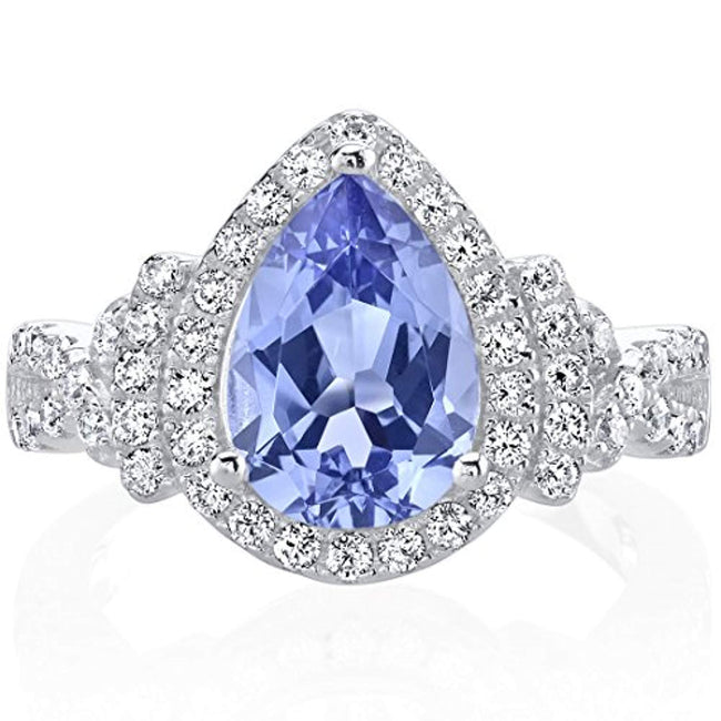 Simulated Tanzanite Sterling Silver Tear Drop Halo Ring