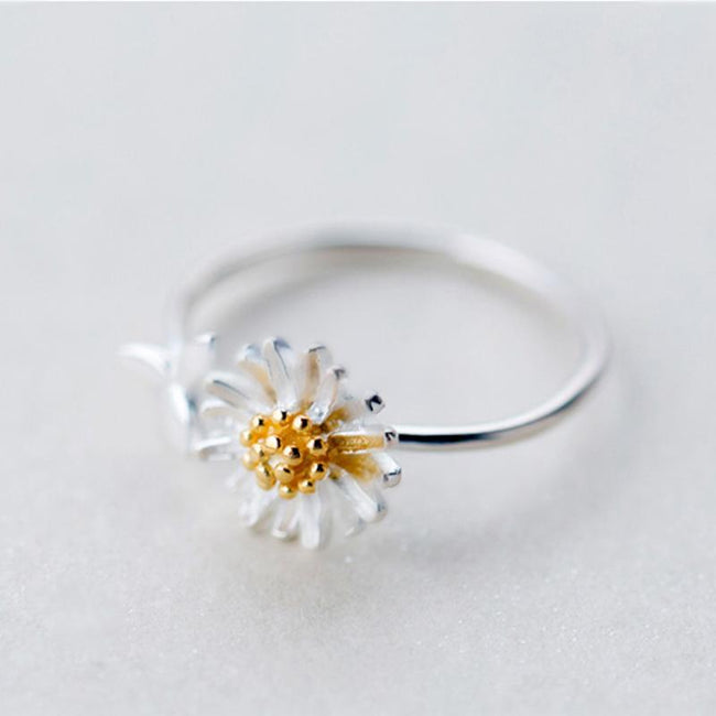 New Silver Color Daisy Flower Rings for Women Adjustable Size Rings Fashion Wedding Jewelry