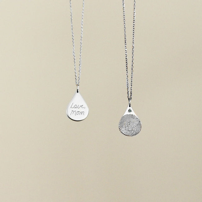 Fingerprint Necklace - Teardrop Necklace - Memorial Necklace - Actual Handwriting Jewelry - Thumbprint Necklace - Remembrance necklace