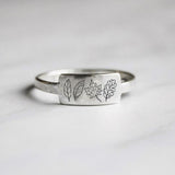 S925 Sterling Silver leaves rings