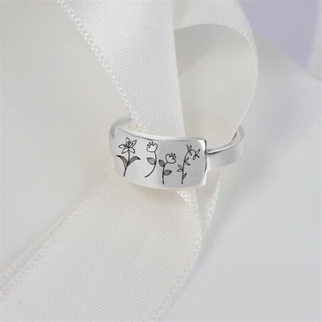 925 Sterling Silver Wildflowers Ring Spring Flower Ring Gift For Nature Lovers