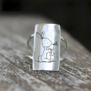 Bunny Rings 925 Sterling Silver Mother and Child Animal Rabbit Ring Gift for Women Girl