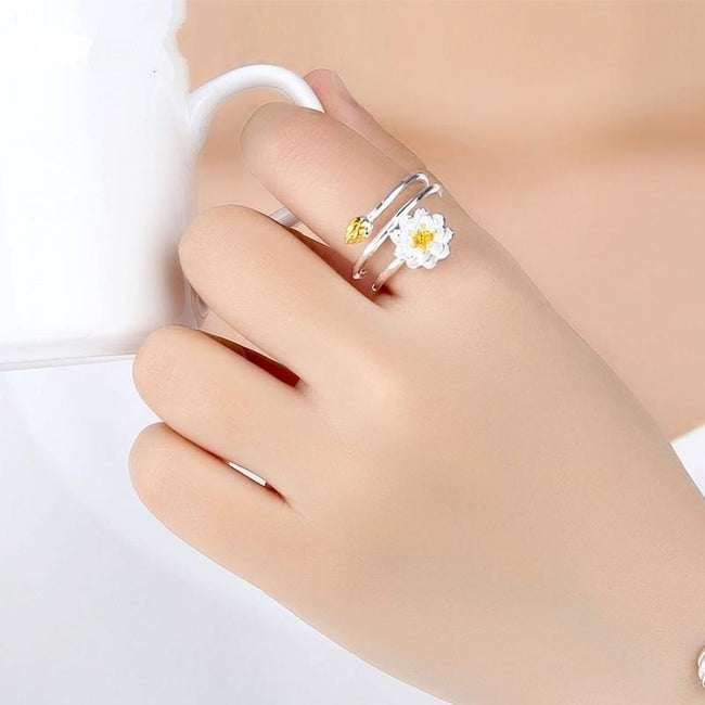 Lotus Ring Delicate Flower S925 Sterling Silver Spiral Open Simple Female Ring Creative Silver Jewelry