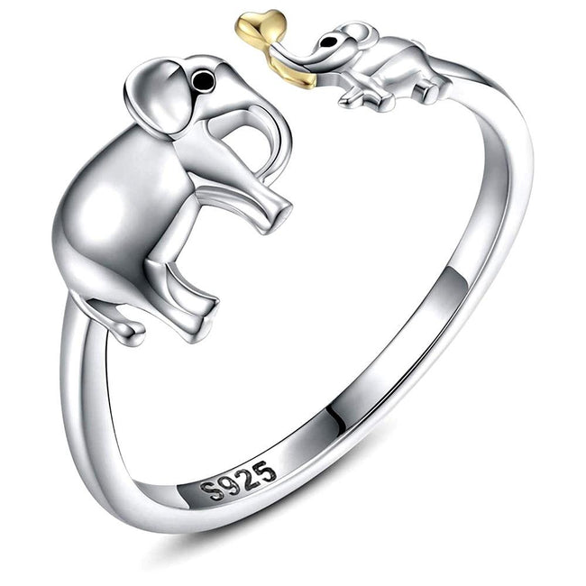 Exquisite 925 Sterling Silver Elephant Rings Fashion Elephant Mom & Baby Love Open Ring Jewelry Accessories