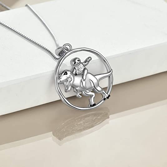 Dinosaur Necklace Sterling Silver Sloth Pendant Necklaces Jewelry Gifts for Women Girls Mother Daughter