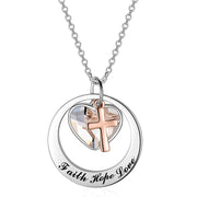 "Two-Tone Sterling Silver and Rose Gold or Gold-""Faith Hope Love"" Cross Charm Pendant Necklace with Austrian Crystal"