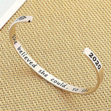 Inspirational Graduation Gifts Cuff Bracelet - Engraved Inspirational Bracelet Cuff Bangle with 2020 Graduation Grad Cap, Mantra Quote Keep Going Bracelet Graduation Friendship Gifts for Her