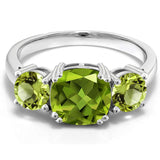 Gem Stone King 925 Sterling Silver Green Peridot Women Meghan Ring for Anniversary (3.45 Cttw Cushion Cut)