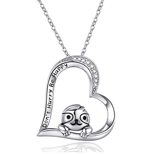"925 Sterling Silver Sloth Pendant Necklace ""Don't Hurry Be Happy"" Necklace Gifts for Kids Girls Women"