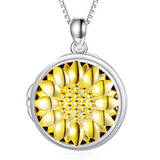 Sterling Silver Sunflower Heart Shaped Locket Necklace That Holds Pictures Photo