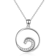 Sterling Silver Ocean Wave Necklace Beach Necklace Ocean Pendant Jewelry for Women Gifts