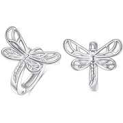 S925 Dragonfly/Bee/Butterfly Earrings Sterling Silver Huggie Hoop Earrings for Women Teen Girls Birthday Clip on Ear Jewelry Gifts