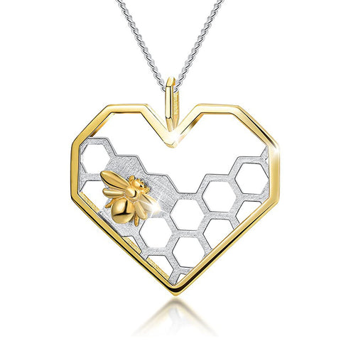 ♥Gift for Mother's Day♥ 925 Sterling Silver Necklace Pendant Honeycomb Bee Pendant Necklace Handmade Unique Jewelry Gift for Women and Girls