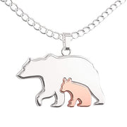 Mother Daughter Bear Necklace – Mama Bear Pendant – Cute Mom Silver Rose Gold Gift for Woman & Girls