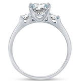 Solid 925 Sterling Silver Highest Quality CZ Cubic Zirconia 3 Three Stone Engagement Ring - Princess Cut Solitaire with Round Side Stones (1.75cttw., 1.5ct. Center) - Comes With Elegant Velvet Ring Box