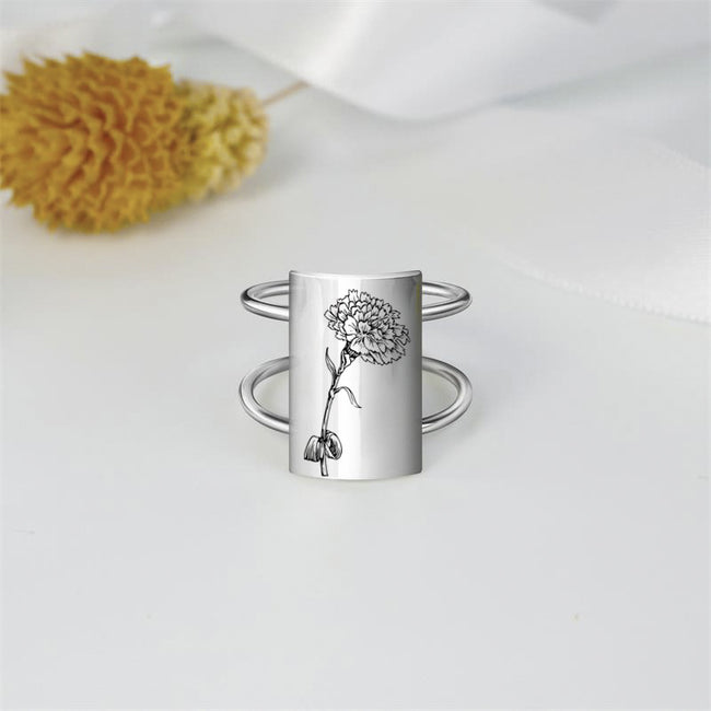 Mothers Day Gift Carnation Flower Ring Sterling Silver Dainty Nature Ring Birthday Gift for Mom Wife and Sister
