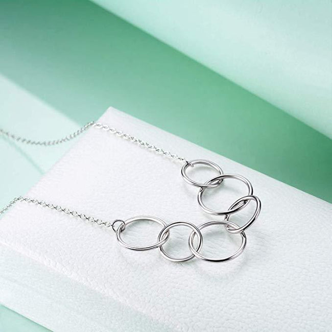 925 Sterling Silver 60th Birthday Necklace for Grandma GrandMother, Each Circle for A Fabulous Decades, Necklace for Grandma Sterling Silver Necklace enjoy life creative