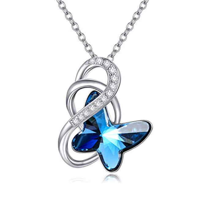 925 Sterling Silver Butterfly Necklace Mom Daughter Butterfly Pendant with Blue Swarovski Crystal Sterling Silver Necklace AOBOCO