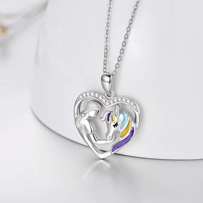 925 Sterling Silver Horse with Girl Heart Pendant Necklace for Girls, Teens, Women, Daughter, Girlfriend Sterling Silver Necklace enjoy life creative