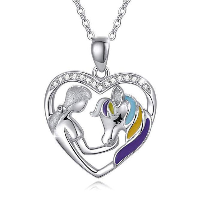 925 Sterling Silver Horse with Girl Heart Pendant Necklace for Girls, Teens, Women, Daughter, Girlfriend Sterling Silver Necklace enjoy life creative Rainbow Horse Necklace