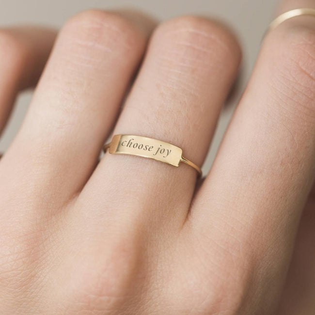 Personalized Bar Ring - Custom sentences, Date or Name - Dainty, Everyday 925 Silver Ring