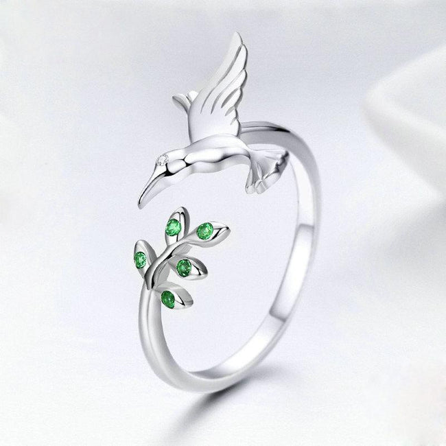 925 Sterling Silver Bird & Spring Tree Leaves Open Size Finger Rings for Women Sterling Silver Jewelry