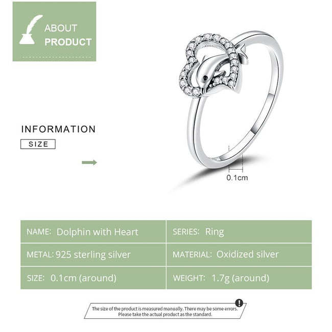 S925 Sterling Silver Dolphin with Heart CZ Bubble Finger Rings for Women Engagement Wedding Statement Jewelry