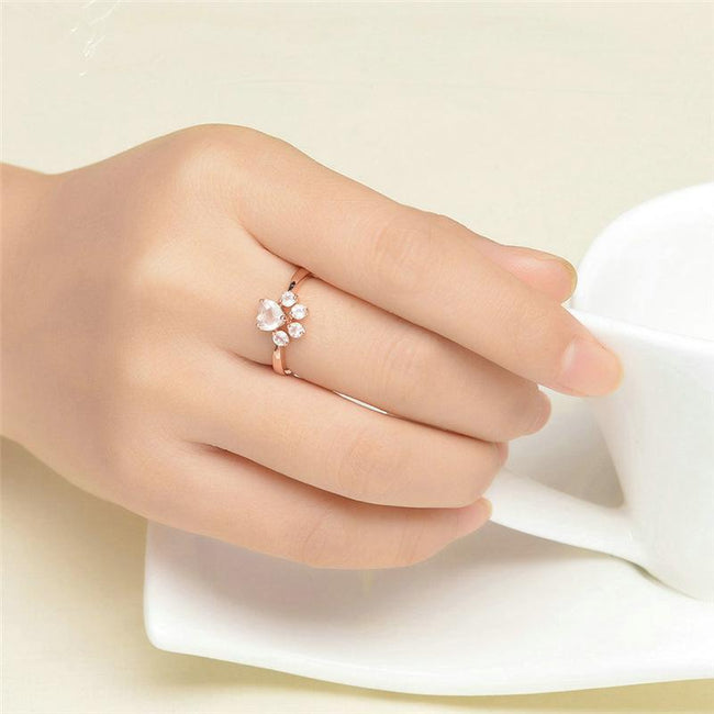 Cut Cat Dog Bear's Paw Zircon Rings For Women Romantic Animal CZ Heart Rose Gold Color Resizable Wedding Rings