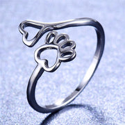 Cute Female Bear Dog Cat Paw Ring silver color Open Heart Claw Thin Ring Footprint Wedding Rings For Women