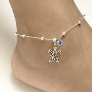 Filigree Turtle Anklet Sterling Silver Personalized Beaded Sea Turtle Charm Anklet With Birthstone