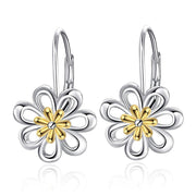 Daisy Earrings 925 Sterling Silver Gold Plated Filigree Flower Leverback Dangle Earrings for Women Girls