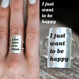 925 Silver I just want to be happy Ring Positive Energy Sentence Ring Inspirational Ring
